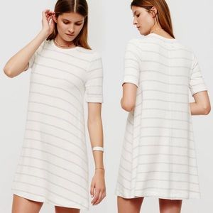 LOU & GREY IVORY STRIPED SIGNATURE SOFT DRESS S